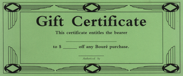 gift certificate size